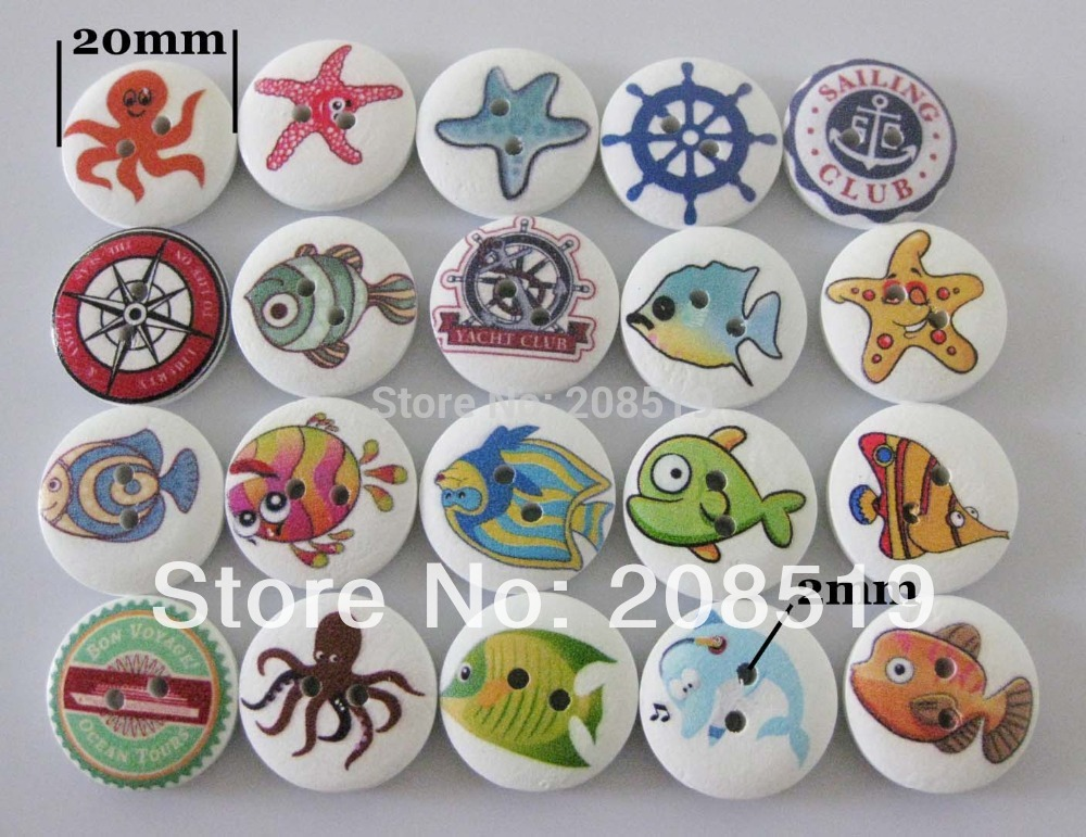 WB0103 Wood buttons printed Mixed colors 100pcs random 20mm round for children sewing