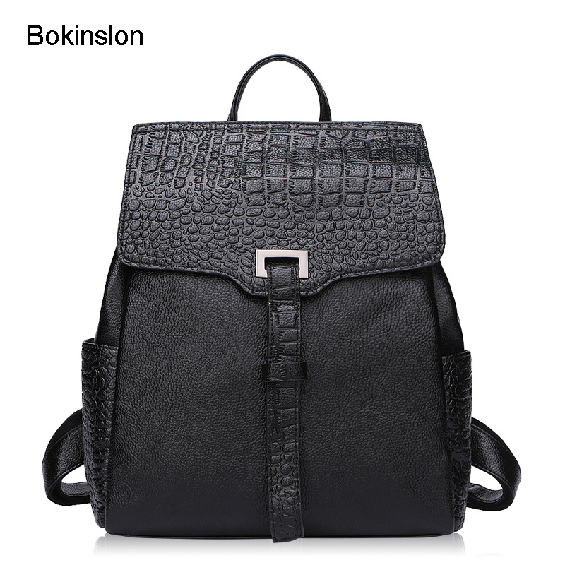 где купить Bokinslon Woman Backpacks Bags Solid Color Practical Fashion Backpacks For Girls Split Leather Alligator Travel Bags Ladies по лучшей цене