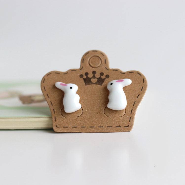 Ceramic Rabbit Bunny Boutique Ear Stud  Earrings Wholesale  Free Shipping