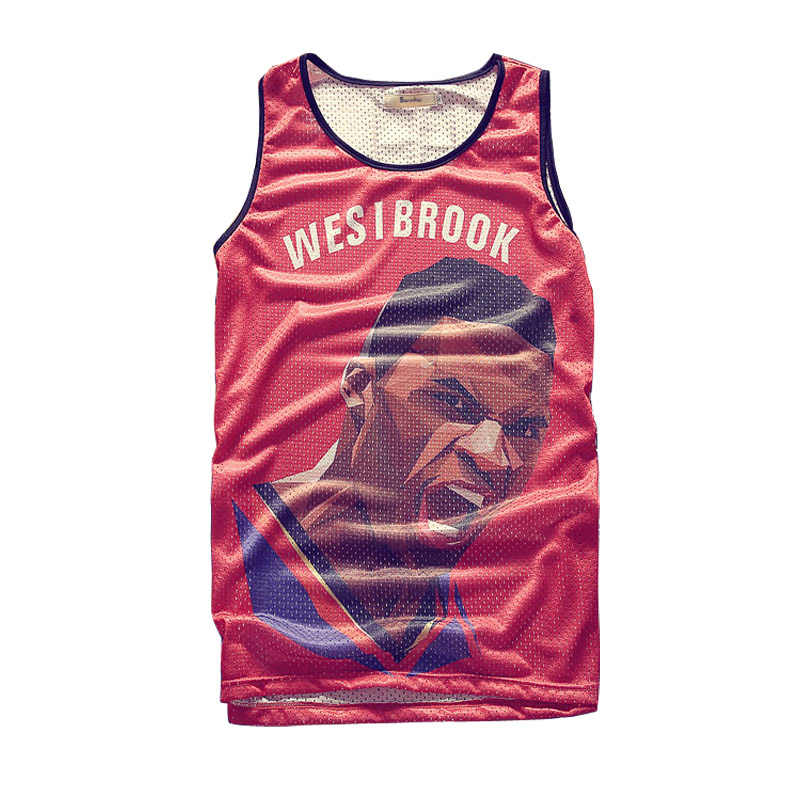 5516700ea7d2dc Russell Westbrook Tank Tops Men s 2018 Summer 3d Mesh Vest Fit Slim  Sleeveless Tee Shirts ventilate