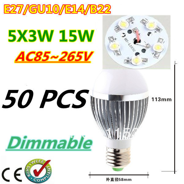 50pcs/lot Retail Dimmable Bubble Ball Bulb AC85-265V 15W E14 E27 B22 GU10 High power Globe light LED Light Free DHL and FEDEX