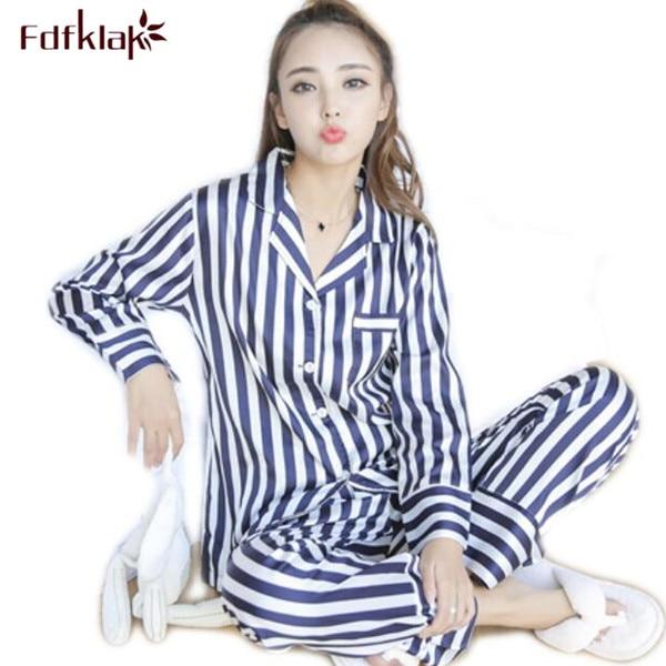 Fdfklak Ladies Pyjamas Faux Silk Spring Autumn Long Sleeve Striped Pijama  Mujer Satin Pajama Sets Womens Nightwear Set Q498-in Pajama Sets from  Underwear ... f37235daa