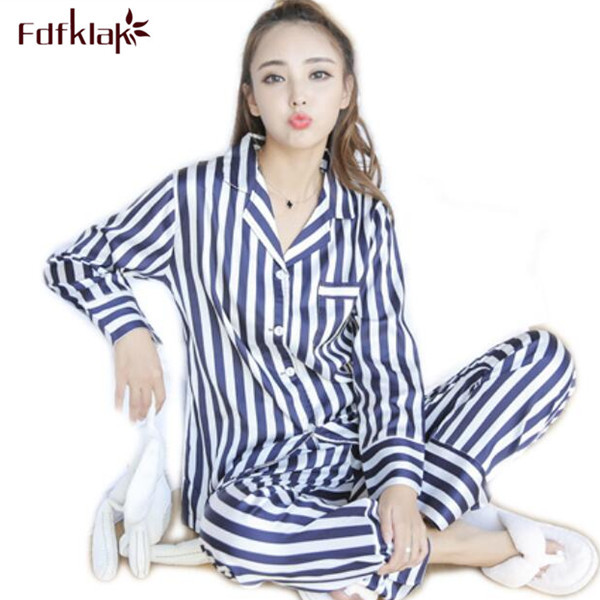 Fdfklak Ladies Pyjamas Faux Silk Spring Autumn Long Sleeve Striped Pijama  Mujer Satin Pajama Sets Womens Nightwear Set Q498 3c428b73e