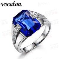 Vecalon Brand Men Fashion Jewelry Wedding Band Ring 6ct Sapphire Cz Diamond 925 Sterling Silver Male