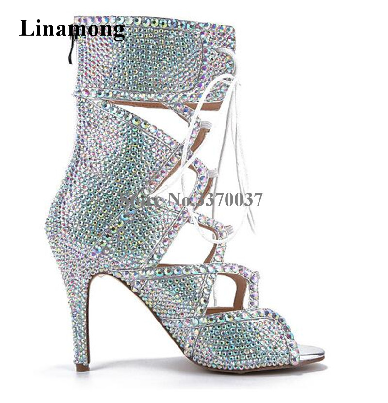 Women Bling Bling Rhinestone Open Toe Lace-up Thin Heel Short Gladiator Boots Cut-out Crystal High Heel Ankle Boots Wedding Shoe gothic style cut out lace faux gem rhinestone necklace