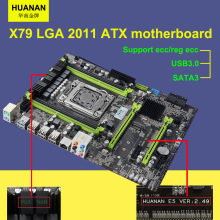 Hot sale Version 2.49 HUANAN X79 motherboard USB3.0 X79 LGA 2011 ATX motherboard SATA3 4 channel memory DDR3 2 years warranty