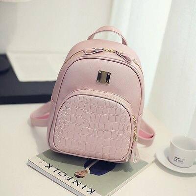 Women Backpack  School Bag For Girls PU Leather Travel Shoulder School Simple Rucksack Student Bag