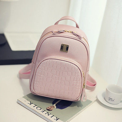 Women Backpack  School Bag For Girls PU Leather Travel Shoulder School Simple Rucksack Student Bag