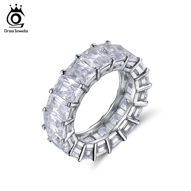 ORSA JEWELS Luxury One Row 17 pcs Shine 0.7cm AAA Austrian Cubic Zirconia Eternity Rings Fashion Silver Color Wedding Band OR146