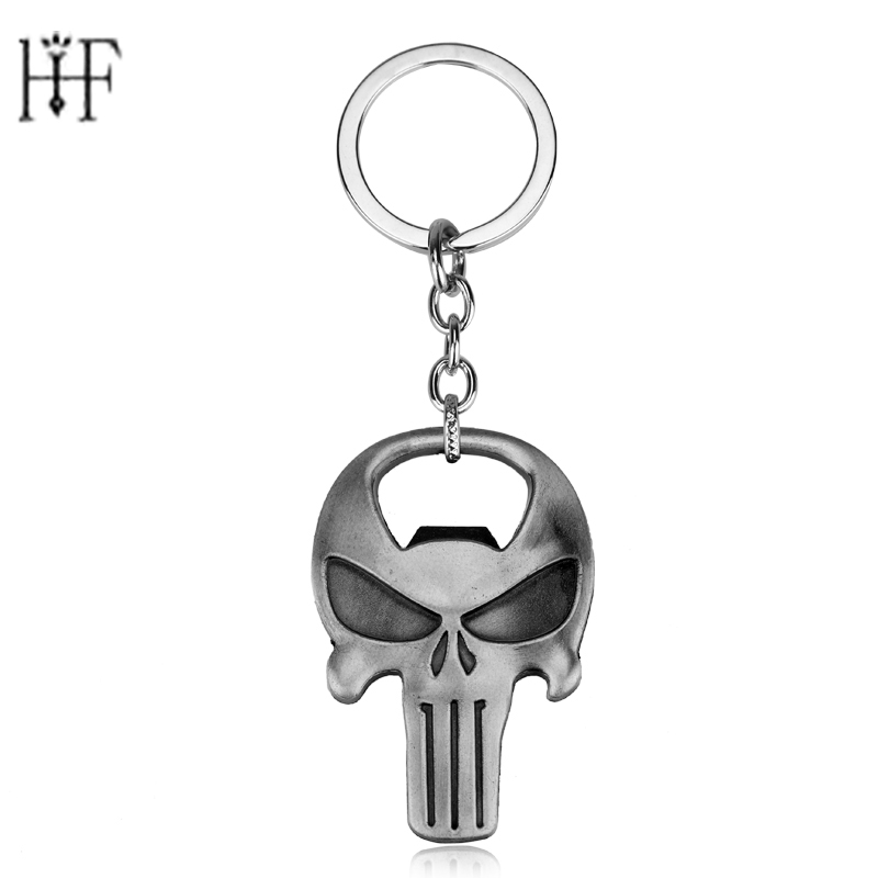 New Arrival The Punisher Skull Bottle Opener Keychain Bar Beer Wine Tool Mask Key Chain Ring Keyring Jewelry Gift Souvenirs