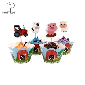 Image 4 - 62 peças para 12 crianças animais de fazenda porco vaca temática de aniversário festa de suplementos conjunto de talheres, placa + copo + canudo + bandeira + etc da mesa