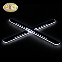 SNCN 4PCS Acrylic Moving LED Welcome Pedal Car Scuff Plate Pedal Door Sill Pathway Light For Volkswagen VW Tiguan 2016 2017 2018
