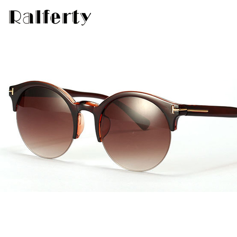 Ralferty Vintage Retro Rodada Óculos De Sol Das Mulheres Dos Homens UV400  óculos de Armação Sem Aro Óculos de Sol Brown Leopard Shades Oculos luneta  1089 5a26bf688d