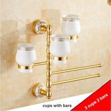 Multi Design 2/3/4/5 Bars Towel Rack Holder Golden Rotation Towel Bars with Cups Design Bathroom Accessories