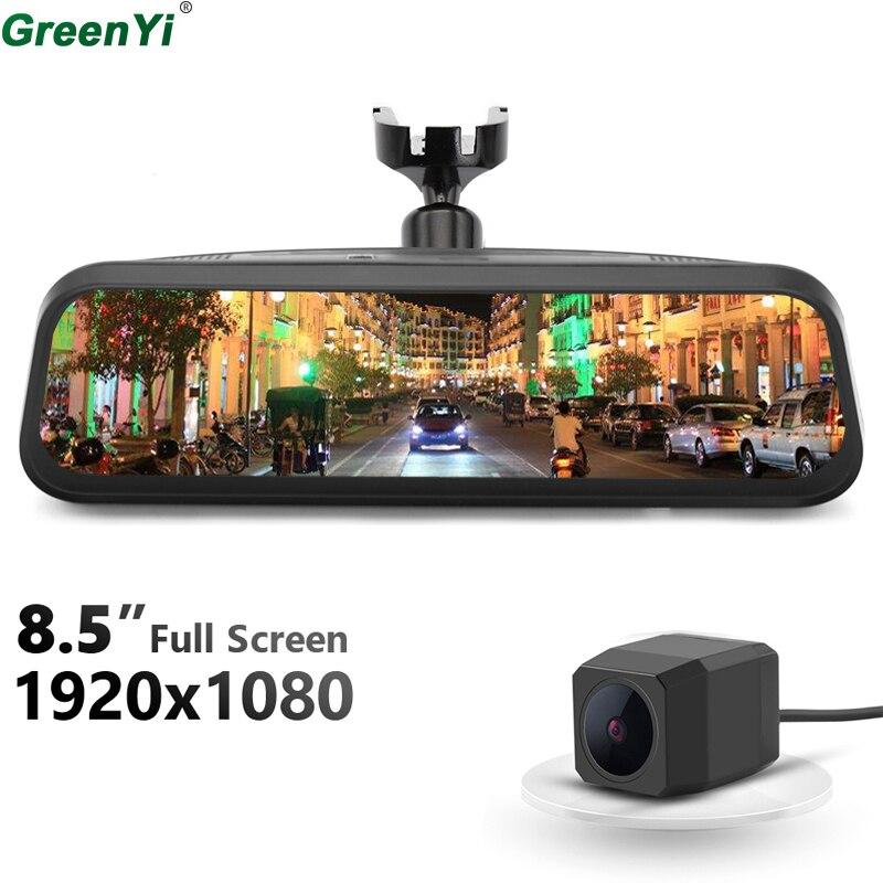 цена на GreenYi 1080P Dual Lens 8.5 Steaming Rearview Mirror Monitor DVR Digital Video Recorder OEM Bracket And MCCD Rear View Camera