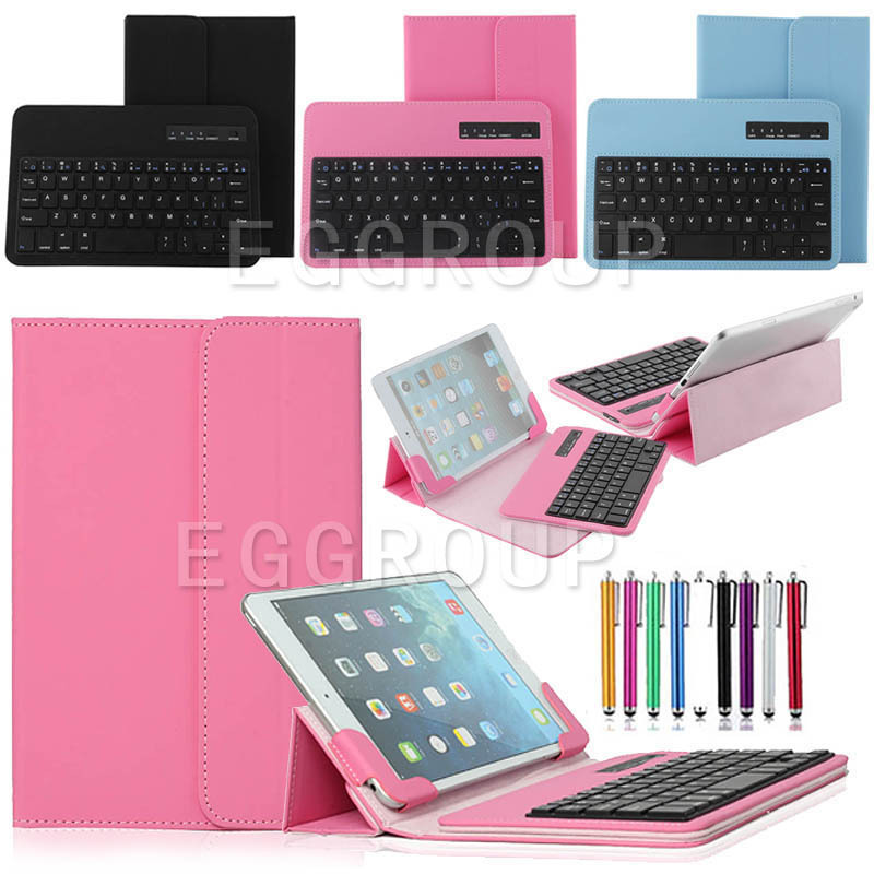 Universal Removable Wireless Bluetooth Keyboard + PU Leather Case Cover Stand For 7 8 inch Tablet PC With free  Stylus universal 78 key wired keyboard case for 7 tablet pc black