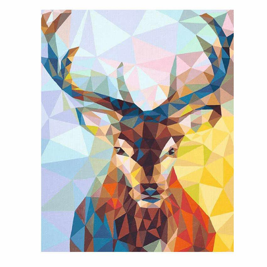Adults Beginner with Brushes Rainbow Deer Students Without Frame Tonzom Paint by Numbers Kits 16x20 inches DIY Oil Painting for Kids