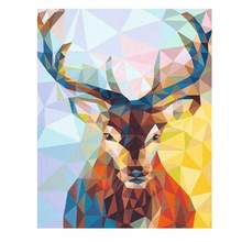 WONZOM Deer Paint By Numbers Animal Oil Painting On Canvas With FrameHome Decor Wall Art For Living Room Acrylic Paint(China)