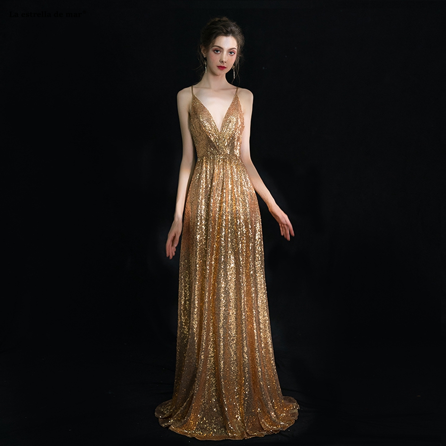 Vestido formatura 2019 new sexy V-neck halter sequin applique a Line gold sequin   prom     dresses   long plus size gala jurken