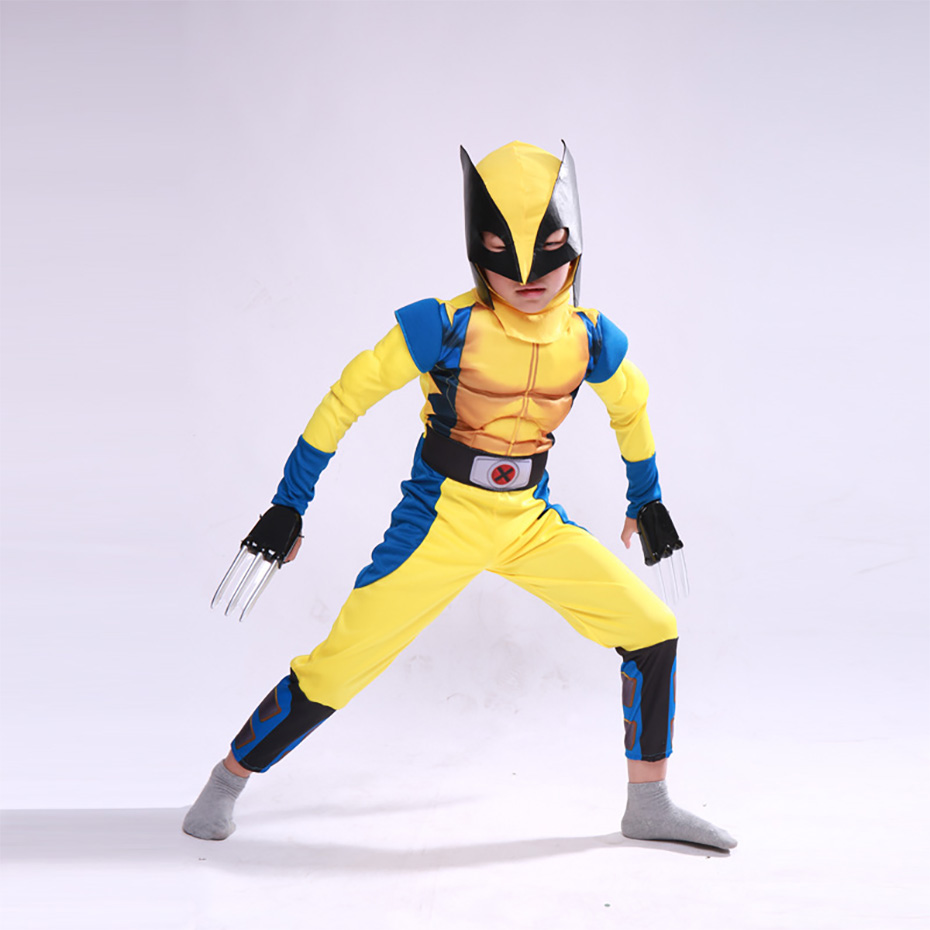 Image 3 - Wolverine Wolf Set Anime X Men Muscle Hero Children Fantasy Comic Movie Carnival Party Purim Halloween-in Boys Costumes from Novelty & Special Use