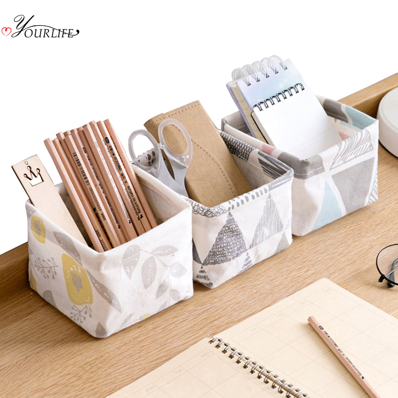 OYOURLIFE Foldable Waterproof Canvas Storage Basket Desktop Stationery Toy Cosmetic Jewelry Sundries Storage Case Small Basket