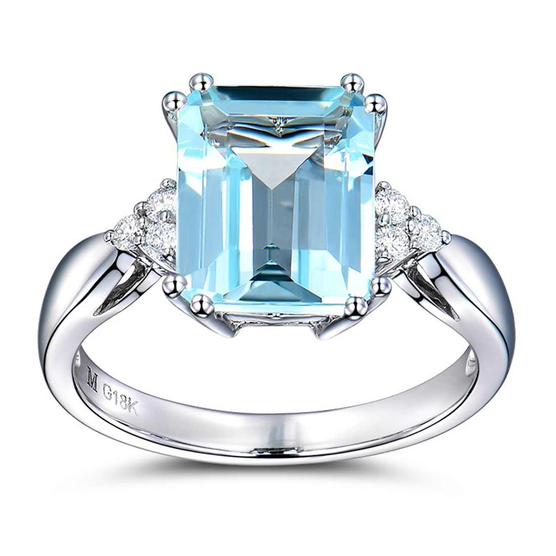 New Big Blue Rectangle Stone Silver Ring for Women Engagement Fashion Jewelry 2018