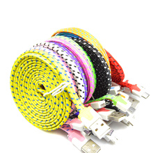 1M 2M 3M Braided Colorful USB Charging Sync Cord Data Cable for Iphone 5 5s 6 6s plus chargering wire Mobile Phone Cables