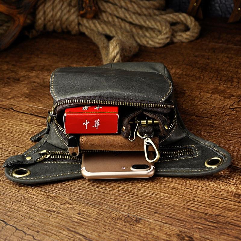 100% ægte læder mænd talje fanny taske rytter ben lår taske drop - Bæltetasker - Foto 3