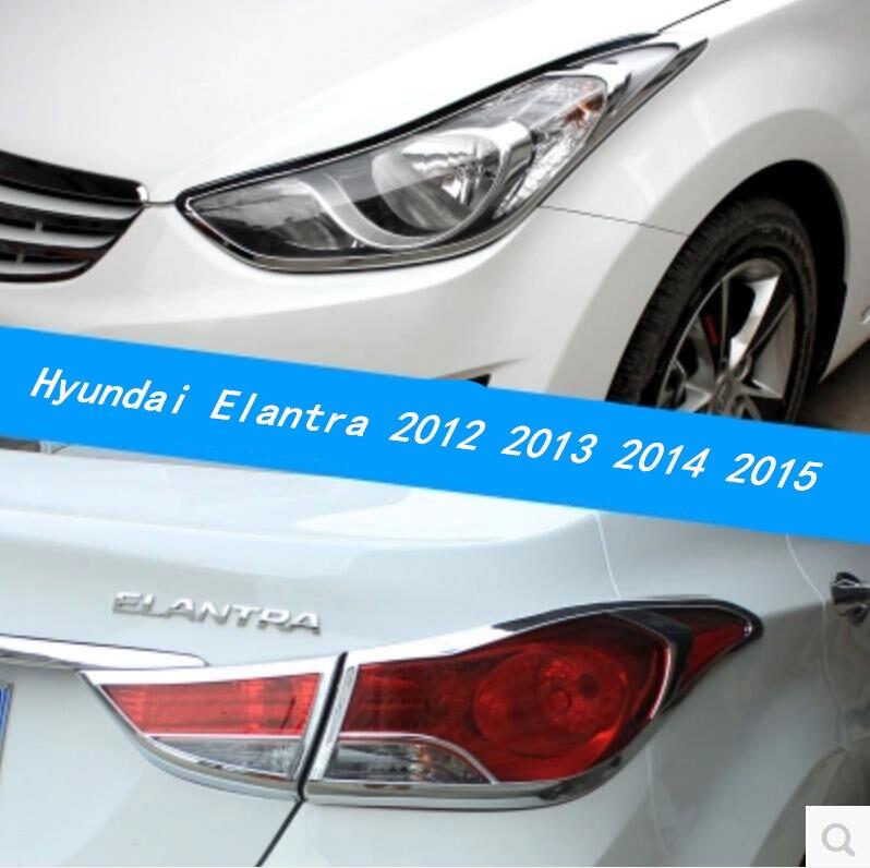 JINGHANG ABS Chrome voiture phare avant + feu arrière couvercle de lampe garniture pour Hyundai Elantra 2012 2013 2014 2015