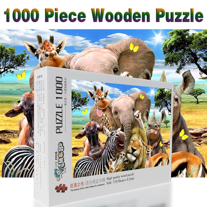 Aufstrebend Afrikanische Tiere Puzzle 1000 Stücke Erwachsenen Puzzle Holz Puzzle Cartoon Puzzles Für Kinder Pädagogisches Spielzeug Geschenke Attraktive Mode