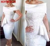 2019 оболочка с открытыми плечами дамы чай Длина Белый наряд для выпускного вышитые Мини Короткие установлены мать невесты жених платье