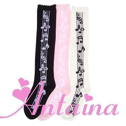 Princesa meias Lolita Doce Grosso 100% algodão na altura do joelho-alta do vintage notas musc jovem menina cosplay stocking cor escolher