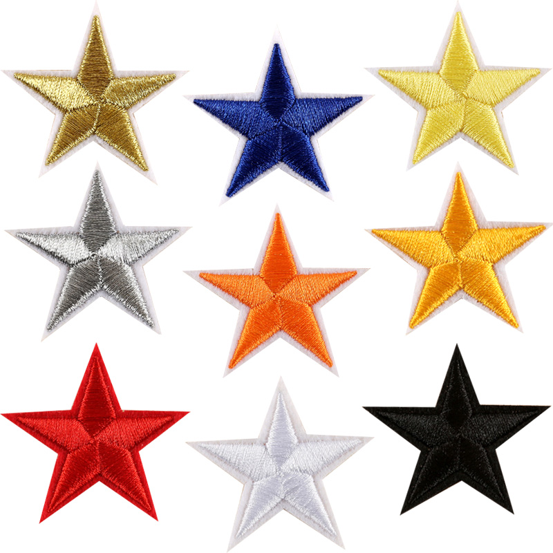 10pcs 9 colors silver /gold stickers clothes 5 Star ...