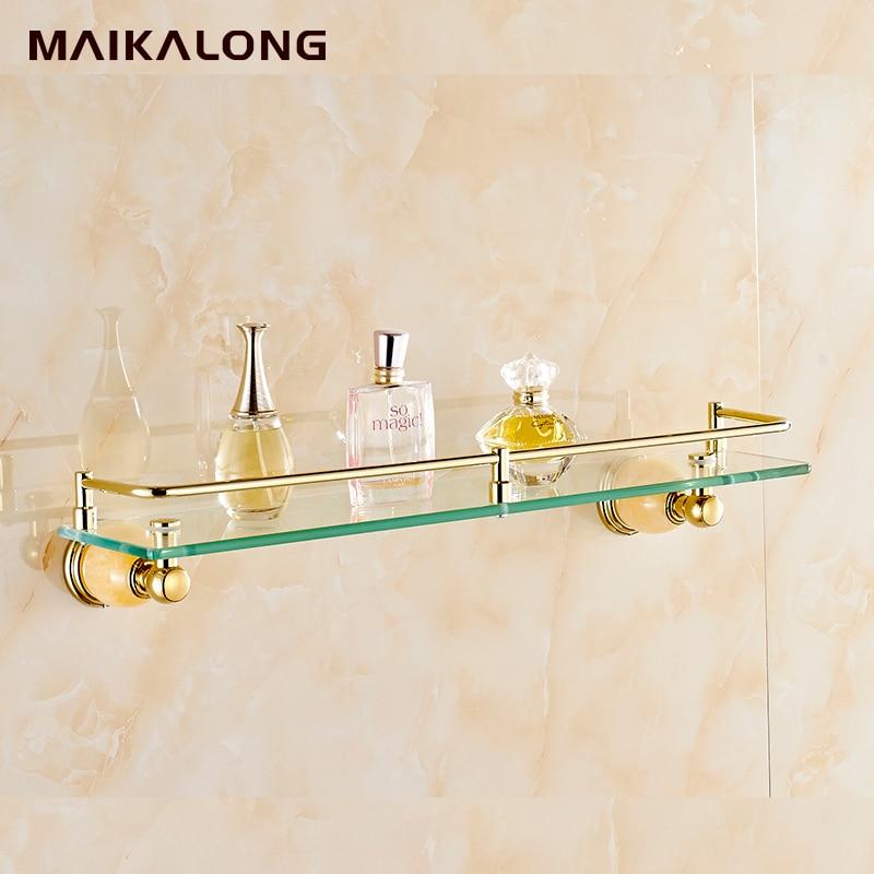 Wall mounted, jade Golden bathroom shelf ,brass made base + glass ...