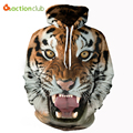 ACTIONCLUB 2017 Spring New Fashion Mens hoodies and sweatshirts With Cap 3d Print Animal Tiger Hip Hop Coats Casual Sportswear