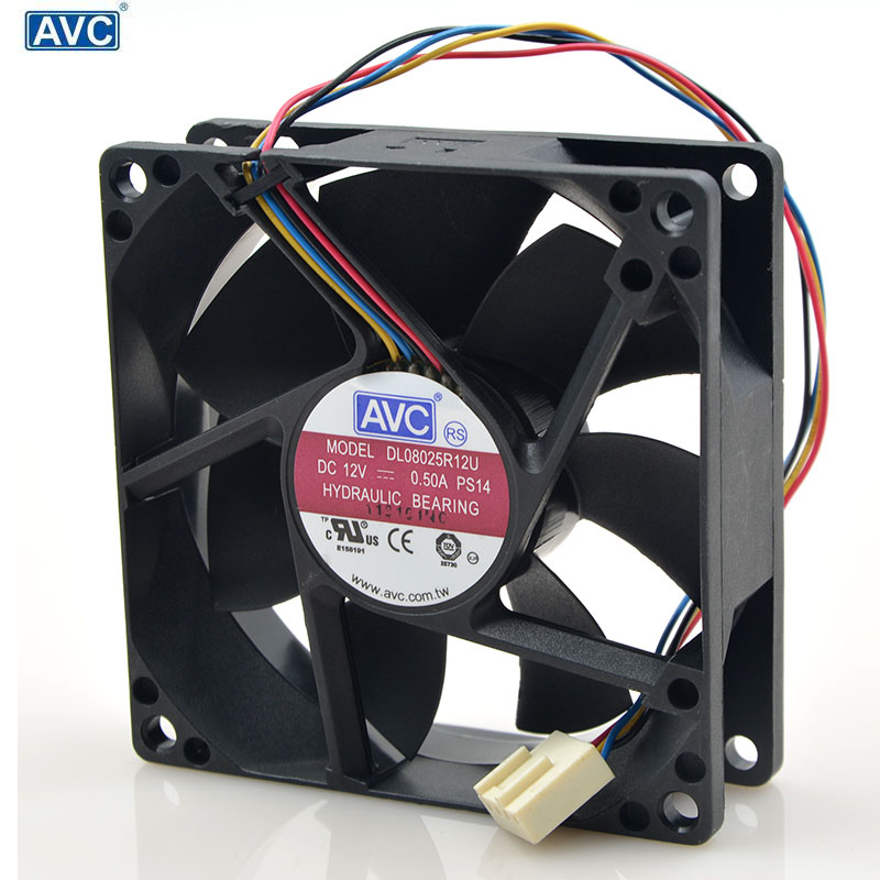 For AVC 8025 80mm x 80mm x 25mm DL08025R12U Hydraulic Bearing PWM Cooler Cooling Fan 12V 0 50A 4Wire 4Pin Connector in Fans Cooling from Computer Office