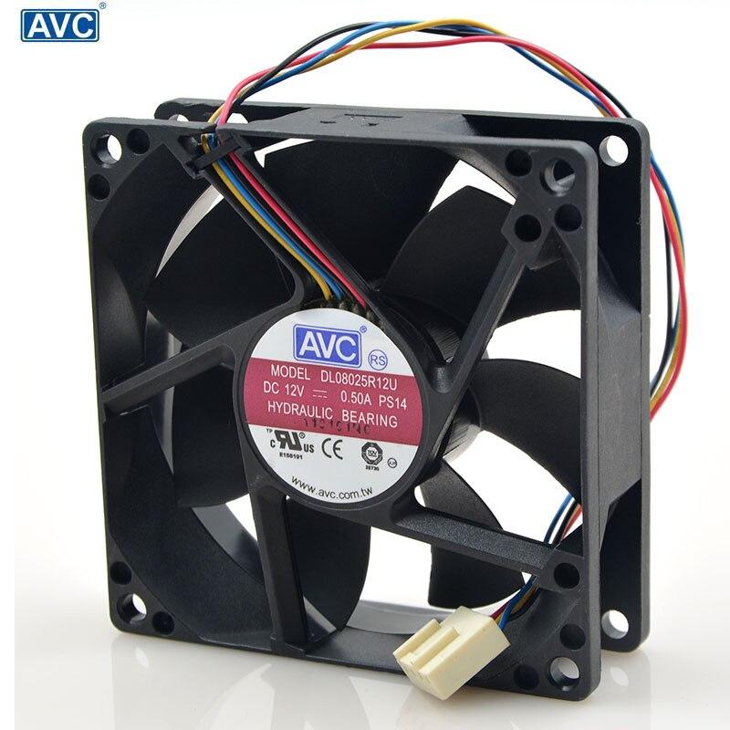 Pour AVC 8025 80mm x 80mm x 25mm DL08025R12U roulement hydraulique PWM refroidisseur ventilateur 12V 0.50A 4 fils 4Pin connecteur