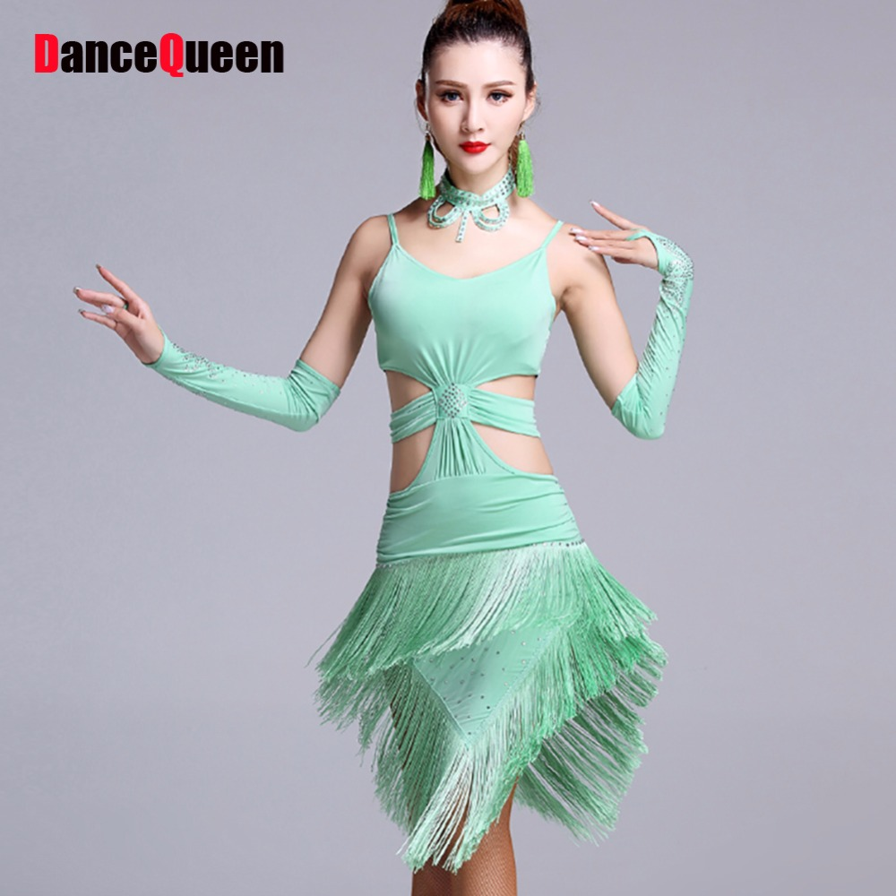 a246cb45bfb81 Lady Latin Dance Dresses Sexy Tassel Chacha Rumba Samba Dance Costumes High  Quality Women Ballroom Dancing ...