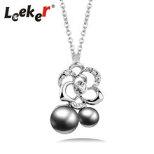 LEEKER Vintage Jewelry Gray/White Imitation Pearl Necklace Women Crystal Flower Wedding Chain 92187 LK5(China)