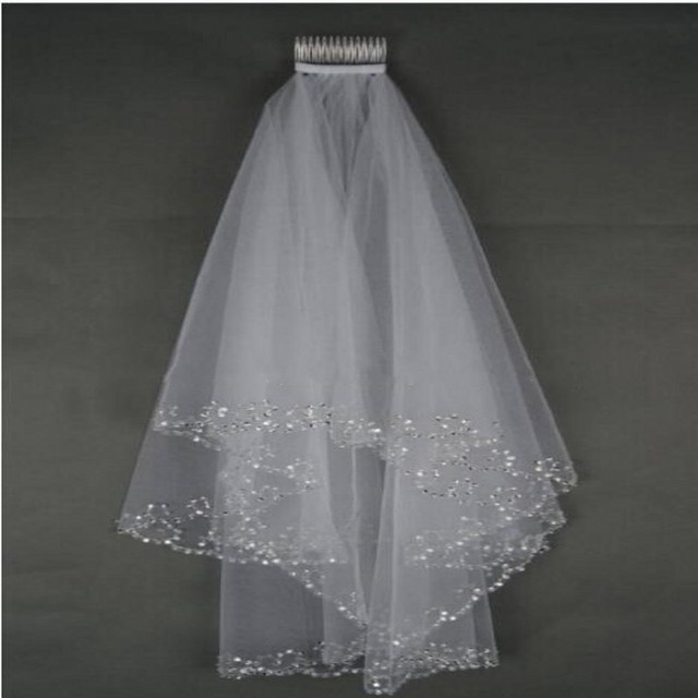 Short Beaded Wedding Veil Two Layer White/Ivory Sequin Tulle 75 CM Length With Comb