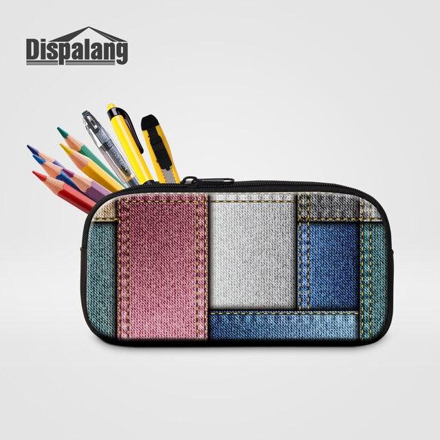 77821a06fa Dispalang moda geométrica zipper caso cosméticos organizador caixa de lápis  da escola dos miúdos denim projeto
