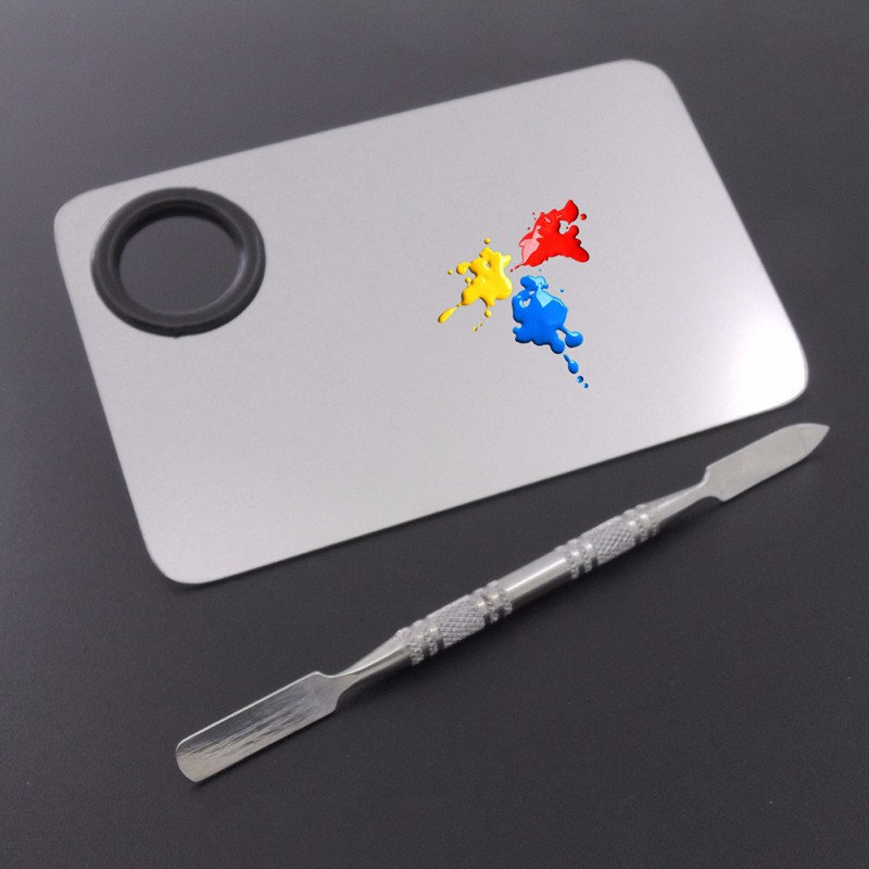 Professional Cosmetic Nail Makeup Mixing Palette Spatula Tool High Quality  Stainless Steel Hands-free Matte Packing