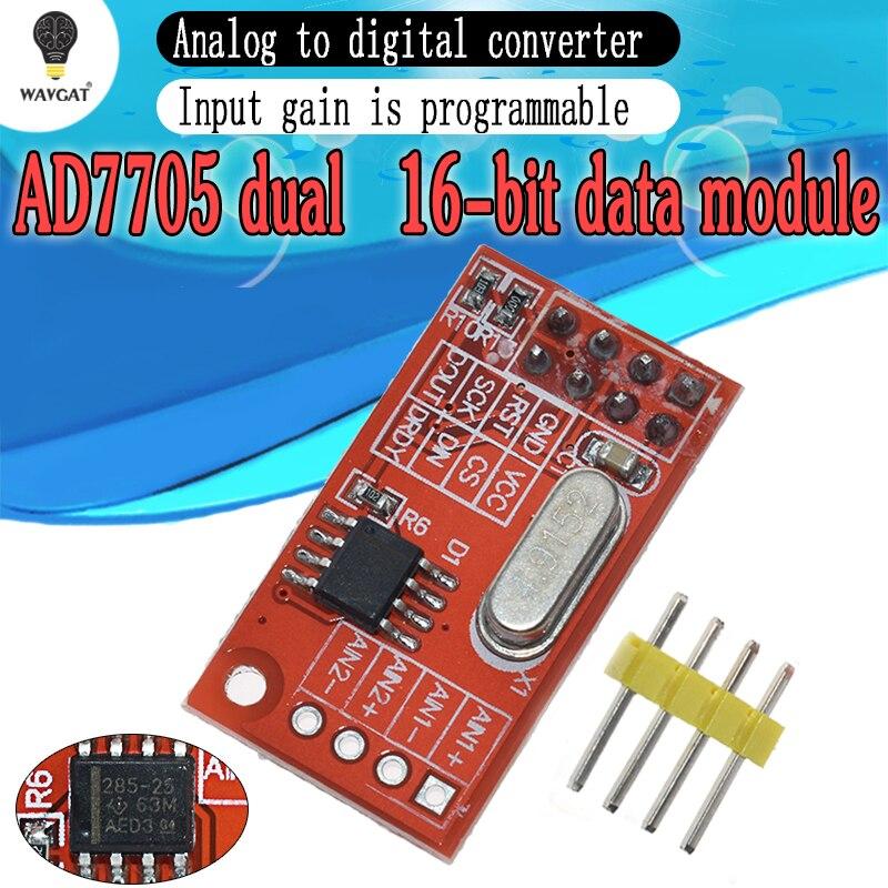 WAVGAT AD7705 Dual 16 oficial bit ADC Interface SPI Módulo de Aquisição de Dados de Entrada de Ganho Programável TM7705