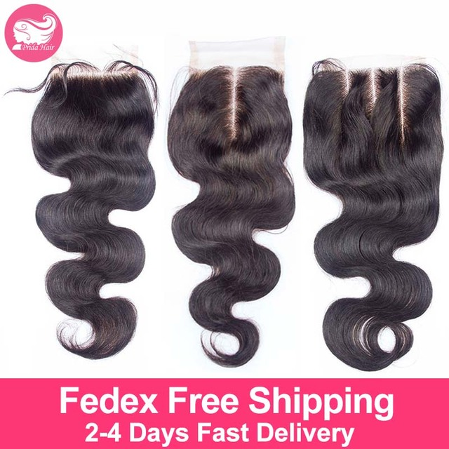 7A Unprocessed Human Brazilian Virgin Hair Lace Closure Body Wave Middle 3 Free Part Bleached Knots Brazilian Top Closure 4x4