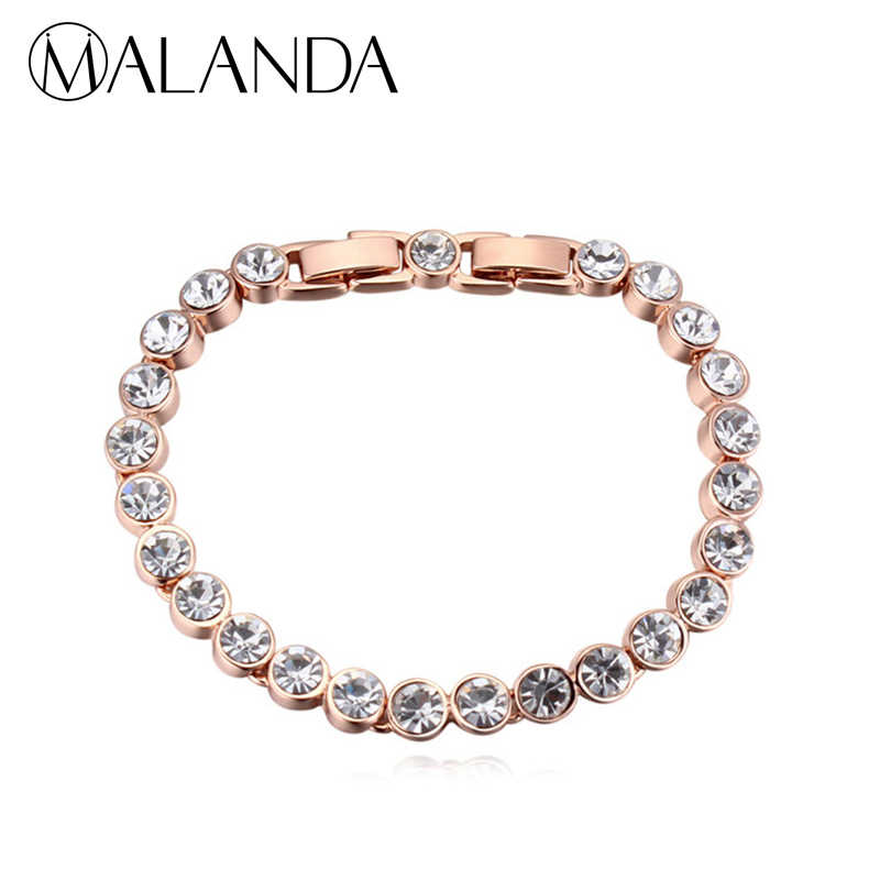 MALANDA Brand 2017 Hot Fashion Real Round Crystal From Swarovski Gold Color Zircon Bracelets Bangles For Women Wedding Jewelry