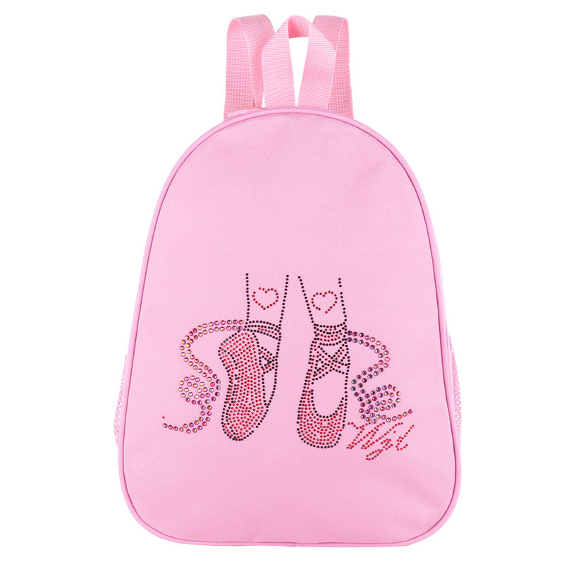 Pink Girls Lovely Backpack Ballet Bag Students School Ballet Dance Bag Beads Toe Shoes Dancing Foot Embroidered Shoulder Bagpack