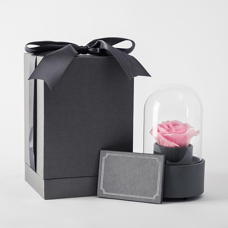 Rose Fairy Flower Music Ball Rotating Glass Cover Gift Box Preserved Flower Festival DIY Kit