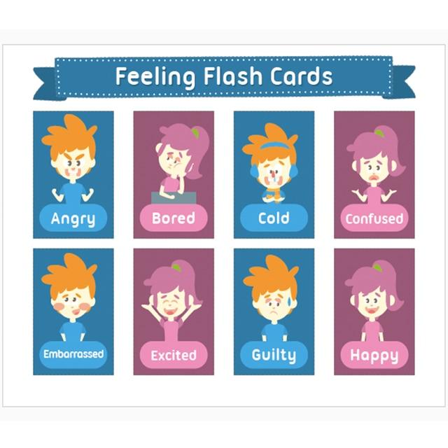 2pcs english feelings emotions express word flash cards wall