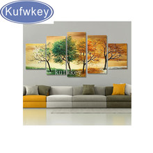 5pcs four seasons trees diy diamond painting cross stitch full 5d diamond embroidery home decoration wall painting stickers arts(China)