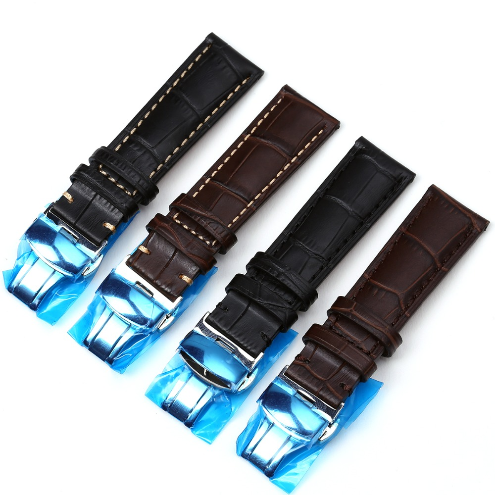 Genuine Calf Leather Watch band strap Butterfly Buckle Watchband 18mm 20mm 22mm Black Brown crocodile pattern watch accessories crocodile skin pattern cow leather wristwatch strap watchband black size 20l